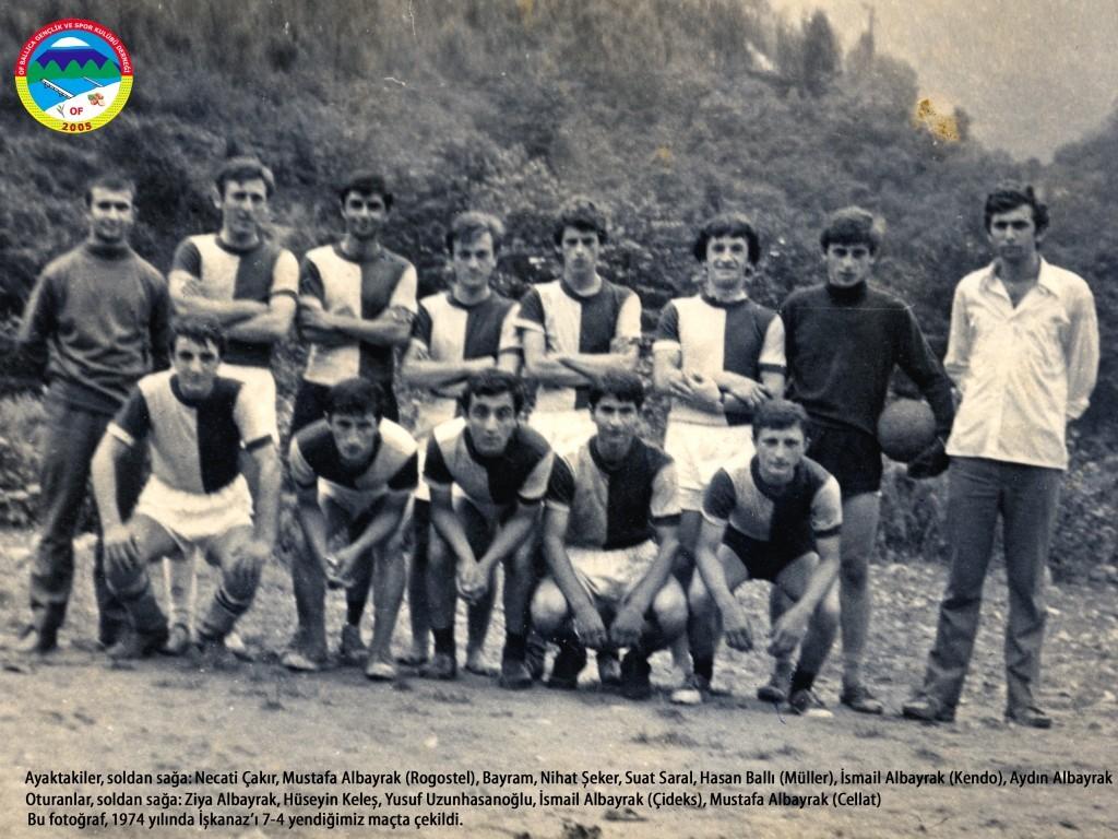 Ballıcaspor Futbol Takımı; 1974 yılında solaklı deresi toprak sahasında işkanaz ile (dumlusu) oynanan ve 7-4 kazanılan maçtan bir kare. Fotoğrafta bulunan ve rahmetli olanların mekanları cennet olur inşallah. Rahmetli Hasan Ballı'nın arşivinden alınmıştır.
